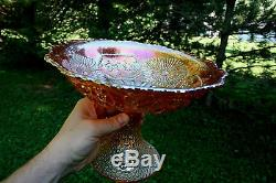 Fenton MIKADO ANTIQUE CARNIVAL ART GLASS LARGE ROUND FLARED COMPOTEMARIGOLD