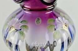Fenton Mulberry Floral Arches Student Lamp Limited Edition Signed M. Nutter