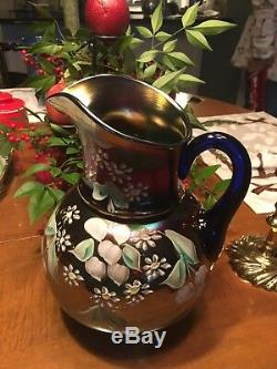 Fenton/Northwood Cherry Blossoms Pitcher and six Tumblers Carnival