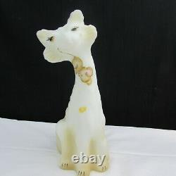 Fenton Opal Satin Rosso Mouse Hand Painted LE Alley Cat 2009 W47