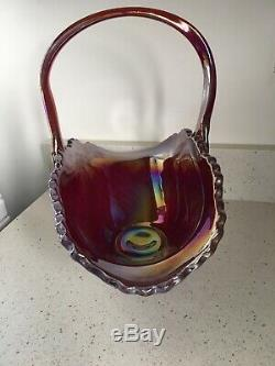 Fenton Or Smith Irresdescent Blue Carnival Glass Basket 14 Inches Long