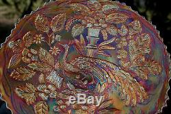 Fenton PEACOCK AND THE URN ANTIQUE CARNIVAL ART GLASS PLATEMARIGOLDEXCEPTIONAL