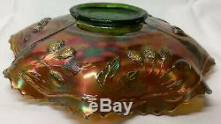 Fenton PEACOCK AND URN Emerald Green Carnival Glass Bearded Berry Exterior BOWL