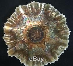 Fenton Peach Opalescent Peacock and Grape Carnival Glass Bowl with the 3N1 Edge