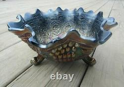 Fenton Persian Medallion Grape & Cable Blue Carnival Glass Footed Fruit Bowl