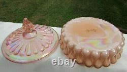 Fenton Pink Carnival Glass Candy Dish 6.25W x 4.25H RARE