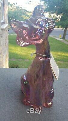 Fenton Pink Iridized Carnival Glass Alley Cat Original Hang Tag