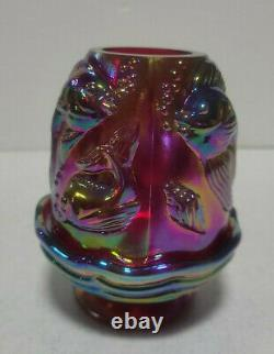 Fenton Plum or Red Carnival Glass Atlantis Fairy Light Signed And Limited
