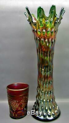 Fenton RUSTIC MIDSIZE VARIANT Green Carnival Glass 14½ Swung Vase 6855