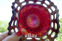 Fenton Red Carnival Glass 2 Row Open Edge 5 Hat with Basket Weave Reverse