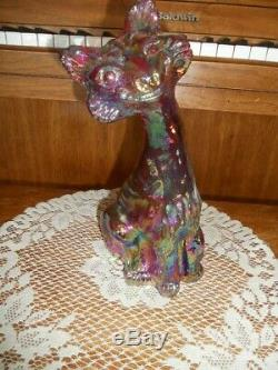 Fenton Red Iridized Carnival Alley Cat 11 Tall Excellent
