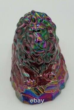 Fenton Red Ruby Carnival Glass Lion Figurine Paperweight Nice