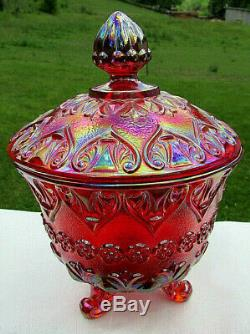 Fenton Ruby Red Baroque Pattern 3 Toed Covered Candy Dish 7H x 5W MINT
