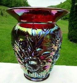 Fenton Ruby Red Carnival Glass Alpine Thistle Vase 9H x 7.75W Mint1993