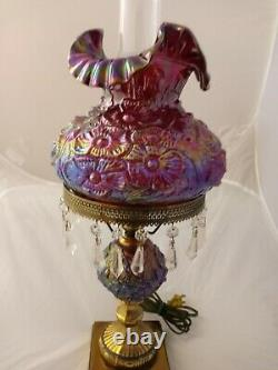 Fenton Ruby Red Carnival Glass Poppy Student Lamp with Prisms
