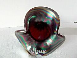 Fenton Ruby Red Spiral Melon Carnival Glass Vase 1980's 7.25H Made for FAGCA 86