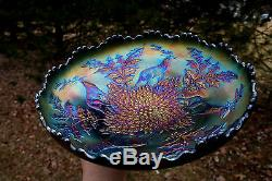 Fenton STAG & HOLLY ANTIQUE CARNIVAL GLASS BALL FTD ICS BOWLELECTRIC BLUE