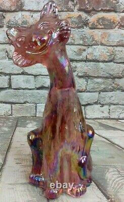 Fenton Signed Glass Iridized Rose Pink Carnival Winking Alley Cat 11 Tall 90's