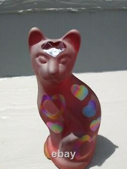 Fenton Stylized glass Cat with hearts beautiful red Carnival
