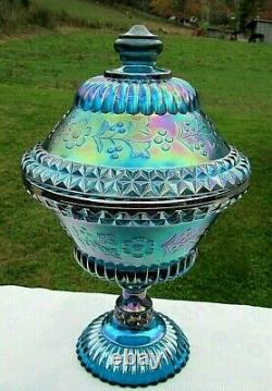 Fenton Teal Blue Carnival Glass Embossed Flower Covered Compote Candy Dish 9.5H