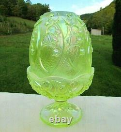 Fenton Topaz Opalescent Carnival Glass Lily of the Valley Fairy Lamp 7H 1990