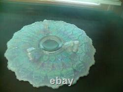 Fenton VTG Opalescent LEAF CAKE PLATE FOOTED Tray Stand Leaf Tiers Iridescent