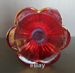Fenton Vase Red Carnival Glass Floral Footed Iridescent 8.75 Excellent