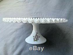 Fenton Violets in The Snow Cake Plate Stand Vintage