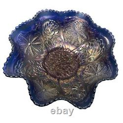 Fenton Water Lily Blue Footed Carnival Glass Bowl 9 1/2 Ruffled Saw Tooth Edge