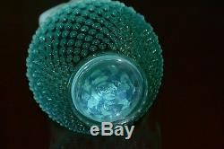 Fenton Water Pitcher Set 8 Jug 6 Tumblers Hobnail Opalescent Teal Turquoise