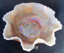 Fenton art glass peach opalescent carnival DRAGON AND LOTUS footed bowl, 8 d