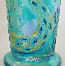 LG Turquoise Blue Carnival Glass Fenton Vase WithEmbossed Peacock & Flowers MINT