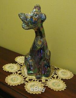Large 11 MARKED Fenton Glass AMETHYST CARNIVAL IRIDESCENT ALLEY CAT Figurine