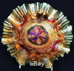 Magnificent Antique Fenton Green Dragon and Lotus Carnival Glass 3N1 Edge Bowl