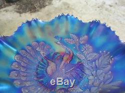 Northwood Electric Blue Carnival Glass Peacock On Fence Bowl Great Color