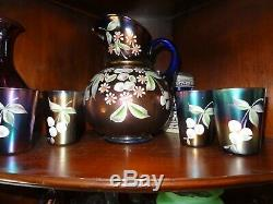 NORTHWOOD LITTLE FLOWERS or FENTON CHERRY BLOSSOMS Carnival Glass PITCHER SET