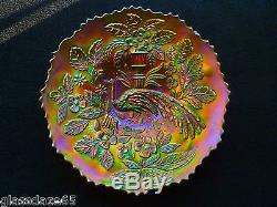 OUTSTANDING FENTON ELECTRIC BLUE PEACOCK & URN CARNIVAL GLASS PLATE