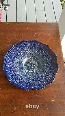 Old Fenton Carnival Glass Persian Medallion Large Silvery Cobalt Blue Plate