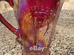 RARE 1974 FENTON RED CARNIVAL GLASS PITCHER SET- GOOD LUCK HOACGA