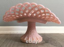 RARE! Fenton Pink Pastel Pink Milk Glass Banana Cake Plate Compote Must See