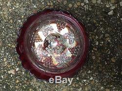 RED Grape and Cable Carnival Glass bowl, No Reserve