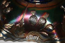 Rare Antique Fenton Peacock and Urn Blue Carnival Glass 9 Ruffled Bowl