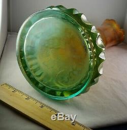 Rare Fenton Aqua Opalescent Swung Carnival Glass Vase Whimsey From G & C Bottom