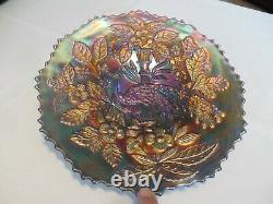 Rare Fenton Carnival Electric Blue Peacocks and Urn Plate