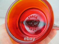 Rare Fenton Factory Made Red Carnival Oval Logo On The Font Fagca 1994