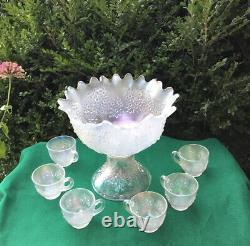 Rare Fenton Orange Tree Antique Carnival Glass Punch Set White, Bowl Base & Cups