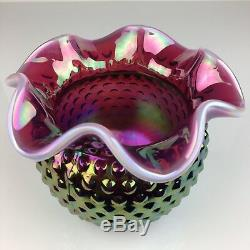 Rare Fenton Plum Opalescent Carnival Iridescent Hobnail Ruffled Glass Rose Bowl