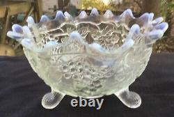 Rare French Opal Grape And Cable Large Footed Fruit Bowl