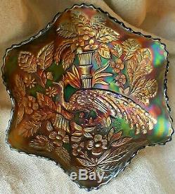 Rare Gorgeous Antique Fenton Peacock And Urn Carnival Glass Bowl Electric Blue