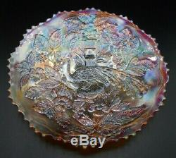 Rare! Vintage Fenton Peacock And Urn Marigold Carnival Glass 9 1/4 Plate